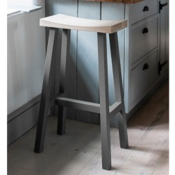 Tall Oak Bar Stool Charcoal