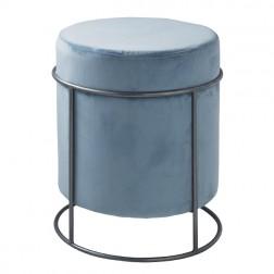 Velvet Pouffe Footstool - Teal Blue