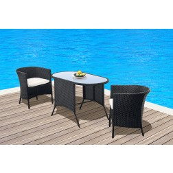 Casamore Tuscany 2 Seater Black Weave Rattan Hideaway Set