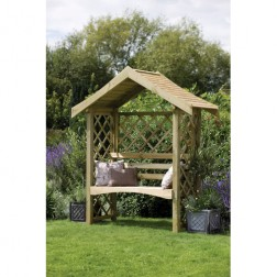 Sienna Arbour Wooden Bench With A Solid Timber Roof