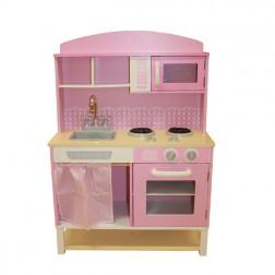 Pink Gingham Wooden Kitchen