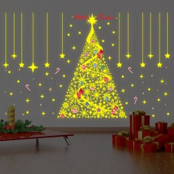 Glow Snowflake and Christmas Tree Wall Sticker