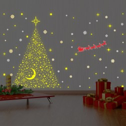 Glow Sleigh and Tree Christmas Wall Sticker
