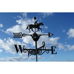 Black Horse and Rider Weathervane in Solid Steel