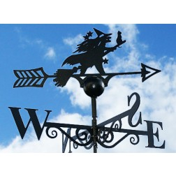 Bewitching Witch and Her Cat Design Black Weathervane in Solid Steel