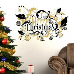 Floral Merry Christmas Wall Sticker