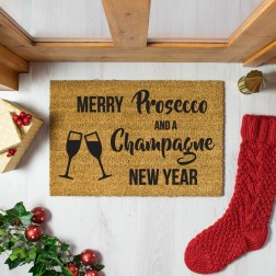Prosecco and Champagne Christmas Doormat