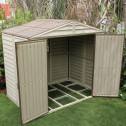 open view of the plastic apex log cabin 8 x 6
