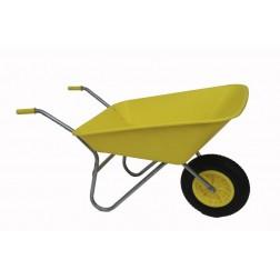 Outdoor Garden Coloured Yellow Self Assembly Plastic Wheelbarrow - 85 litre Pan