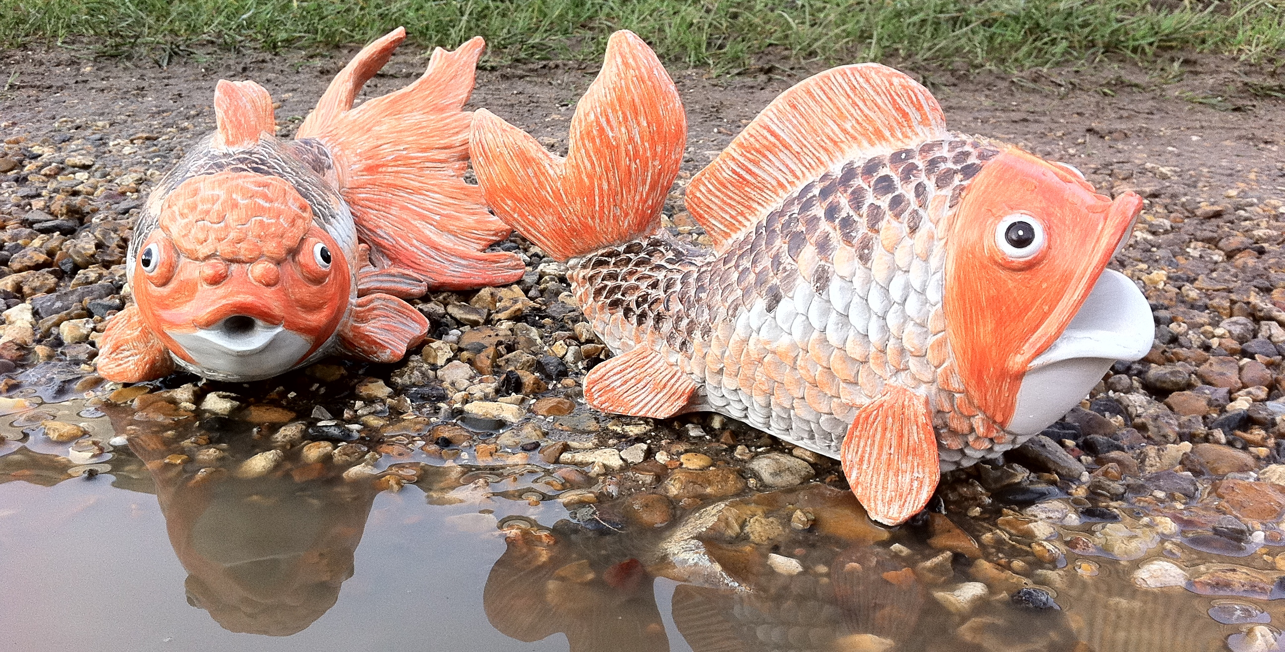 Garden pond large fish indoor outdoor resin ornament for Fish pond ornaments