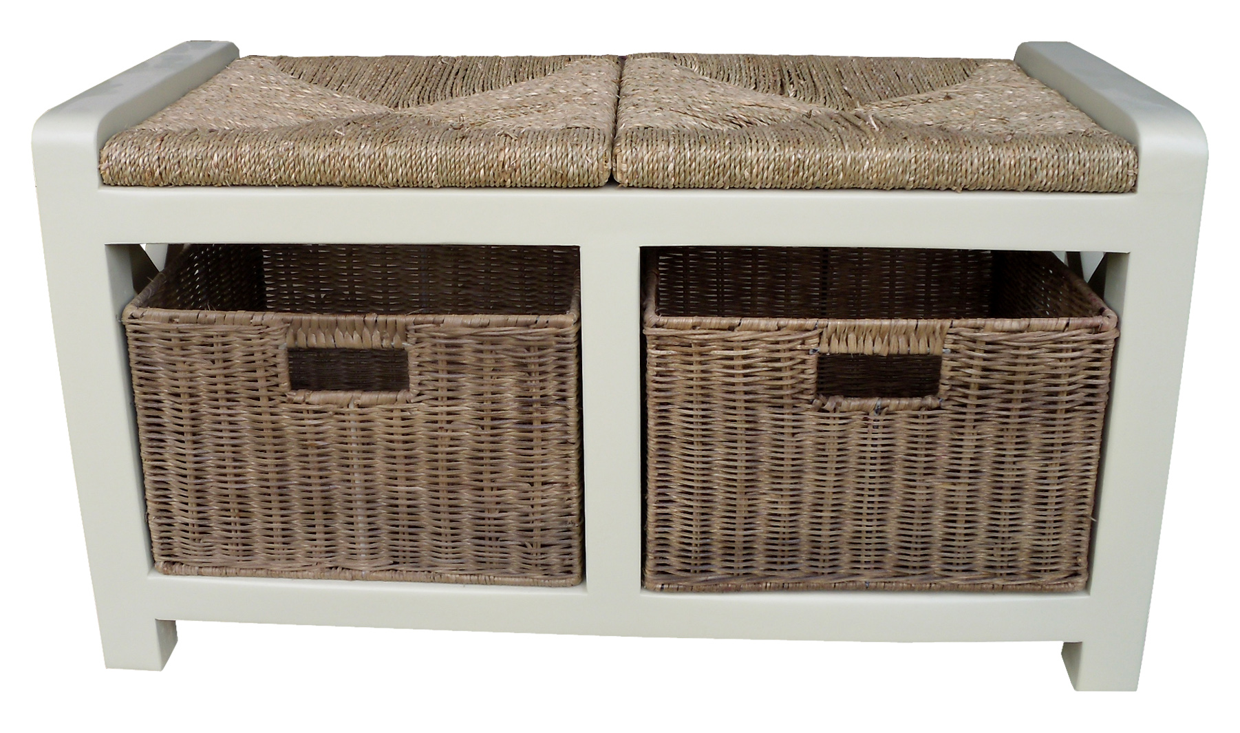 Cream Wooden Hallway 2 Seater Wicker Basket Drawer Shoe Storage Bench Seat Unit Ebay