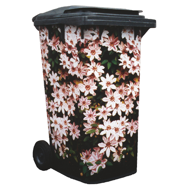 Clematis Nelly Moser Wheelie Bin Cover