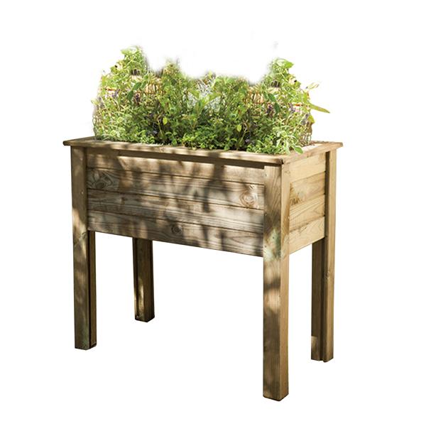Raised Wooden Trough Planter Table