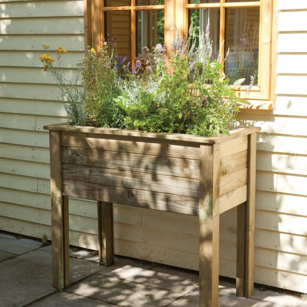 High Level Wooden Trough Planter Table Raised Bed