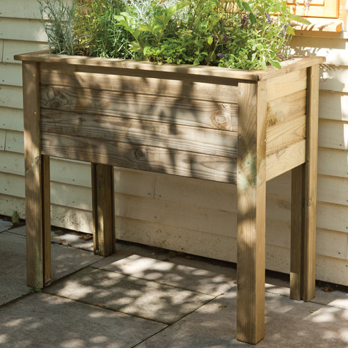 High Level Wooden Trough Planter Table Raised Bed -893