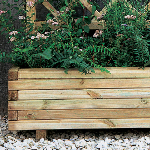 Wooden Garden Planter With Integrated Curved Trellis-2087