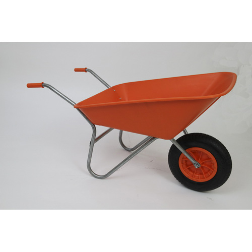 Outdoor Garden Orange Self Assembly Plastic Wheelbarrow - 85 litre Pan-0
