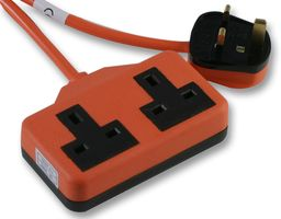 10m 2-Way Double Rubber Plug Socket Extension Lead - Orange - Outdoor-0