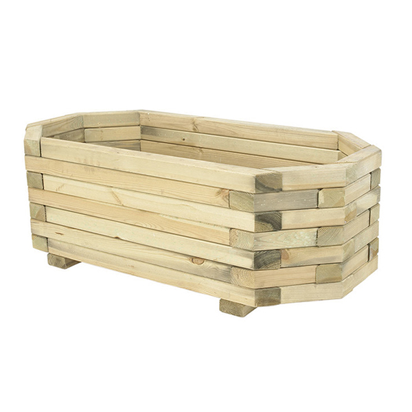Eight Sided Chunky Wooden Planter