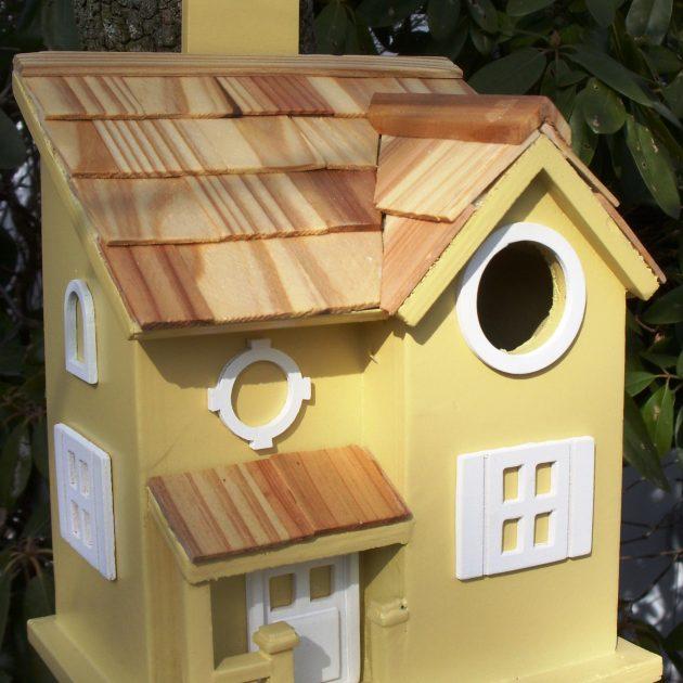Decorative Yellow Cottage Style Bird House/Feeder -0