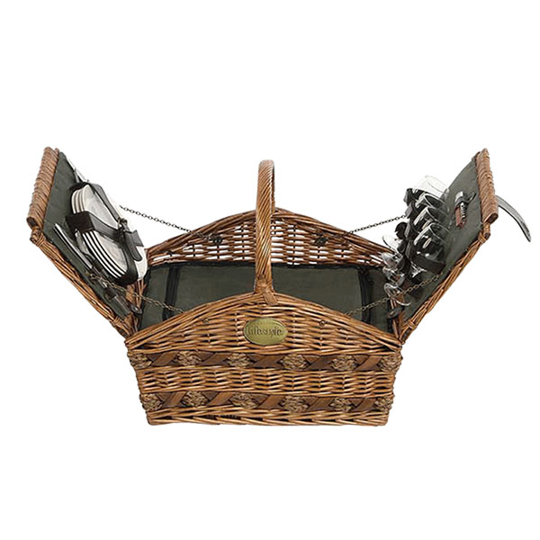 4 Person Willow Picnic Hamper Basket