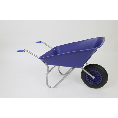 Outdoor Garden Blue Self Assembly Plastic Wheelbarrow - 85 litre Pan-0