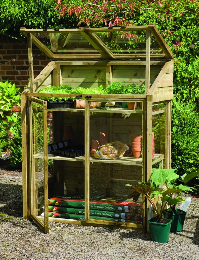 Front view of the Versalite FSA Timber Mini Greenhouse