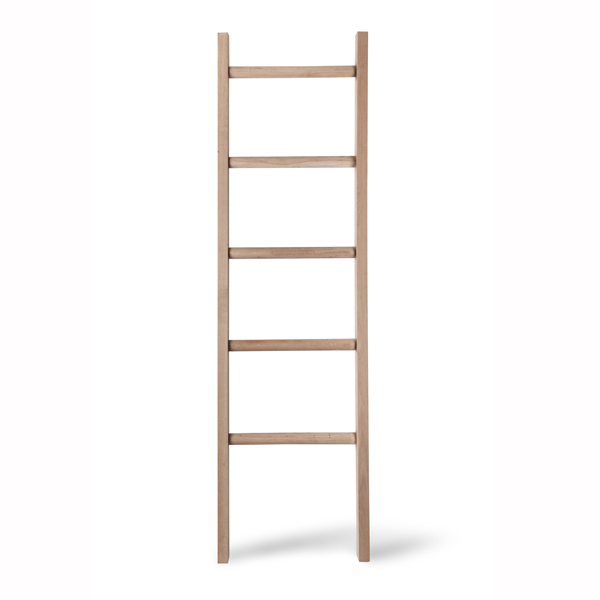 Raw Oak Ladder Towel Rack