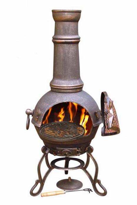 Cast Iron Large Bronze Chimenea-0