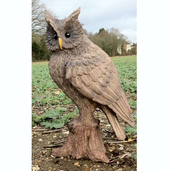 Wood Effect Owl Garden Ornament