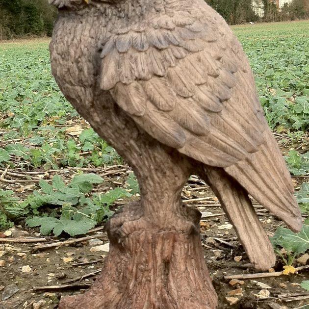 golden wood owl garden ornament