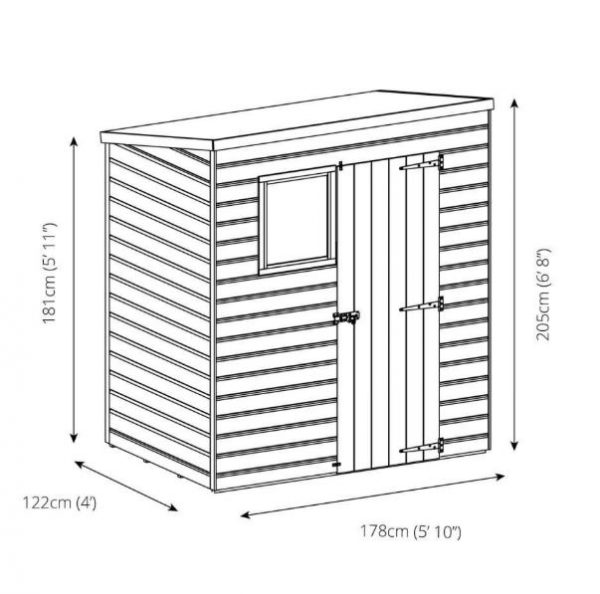 Coledale 6' x 4' Shiplap Pent Wooden Garden Shed-9400