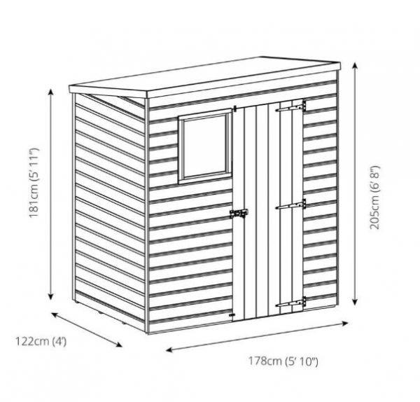Coledale 8' x 6' Shiplap Pent Wooden Garden Shed-9408