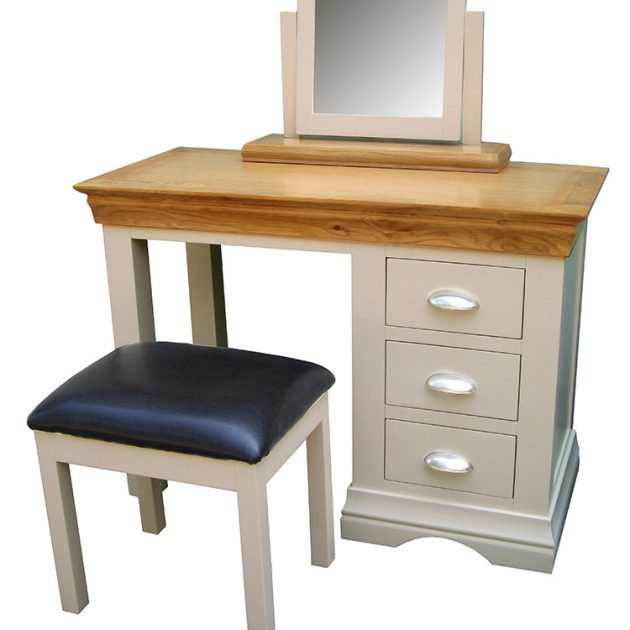 Stunning Breton Indoor 3 Drawer Oak Dressing Table In Warm Cream with Stool-0