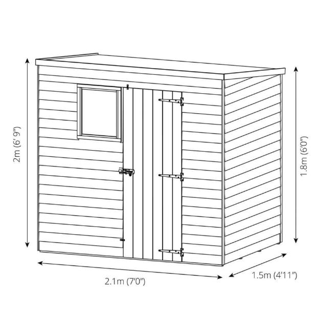 Sherbourne 7' x 5' Overlap Pent Shed-9374