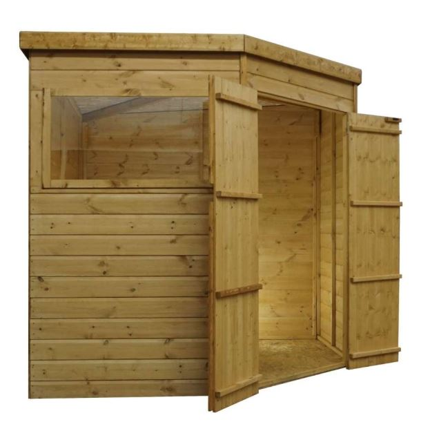 Yewdale Shiplap Corner Shed with Double Door-9424