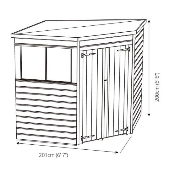 Yewdale Shiplap Corner Shed with Double Door-9435