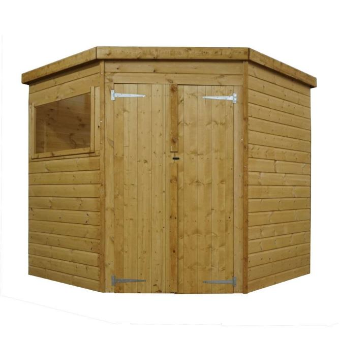 Yewdale Shiplap Corner Shed with Double Door-9433