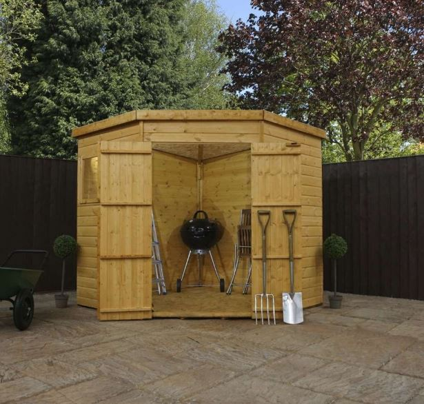 Yewdale Shiplap Corner Shed with Double Door-9431