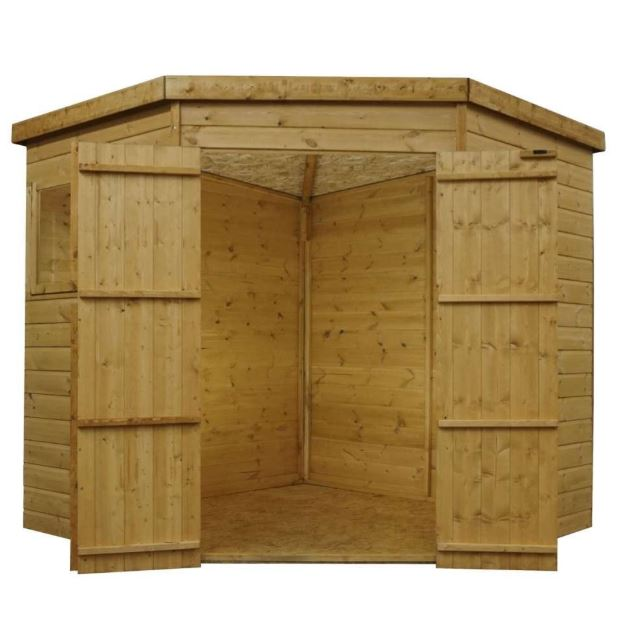 Yewdale Shiplap Corner Shed with Double Door-9436