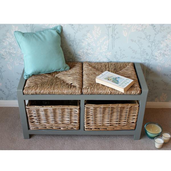 Sensational Gloucester 2 Seat Storage Bench Eucalyptus Grey Gamerscity Chair Design For Home Gamerscityorg