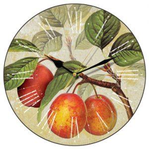 Golden plums wall clock