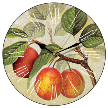 Golden plums wall clock