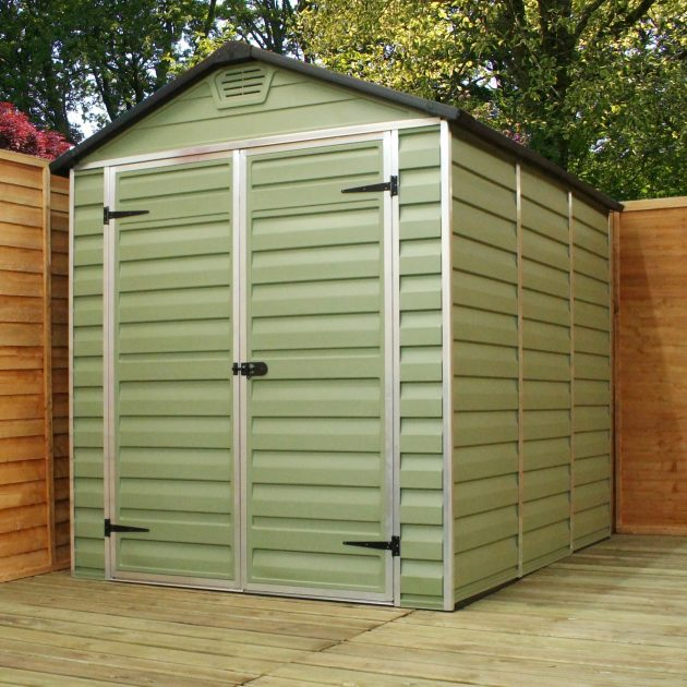 Green Plastic Shed 8x6ft with Skylight Polycarbonate Roof-0