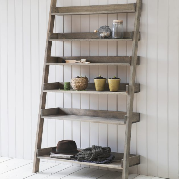 Wide Wooden Ladder Shelf-0