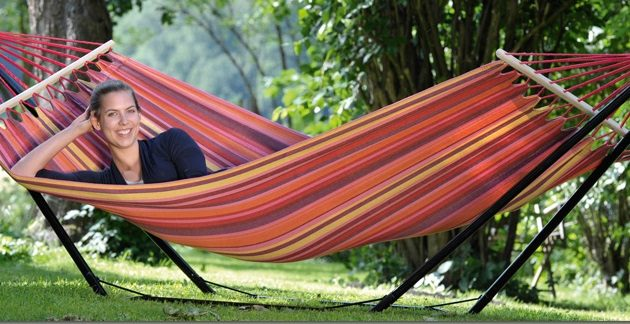 Colourful Hammock with Powder Coated Black Stand-0