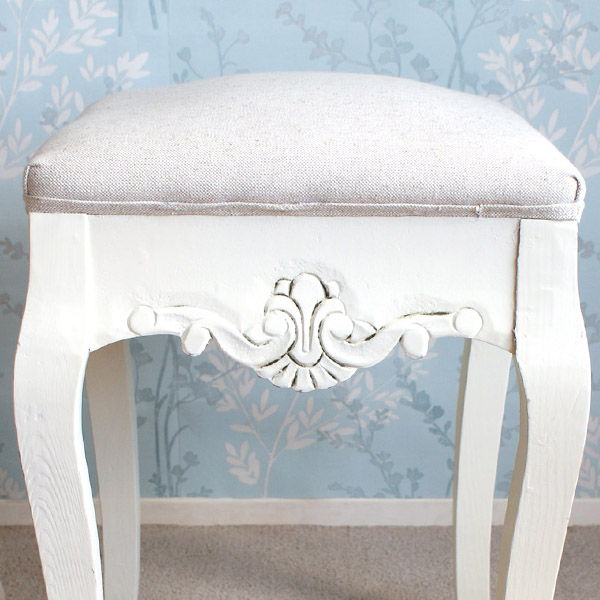 Devon Padded Bedroom Stool - White Finish-8586