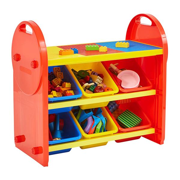 Multicoloured 6 Bin Storage Organiser