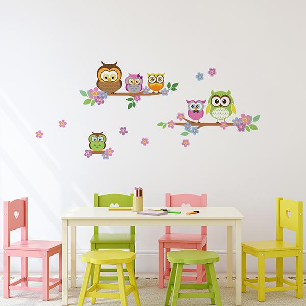 Owls Flowers Trees Wall Sticker