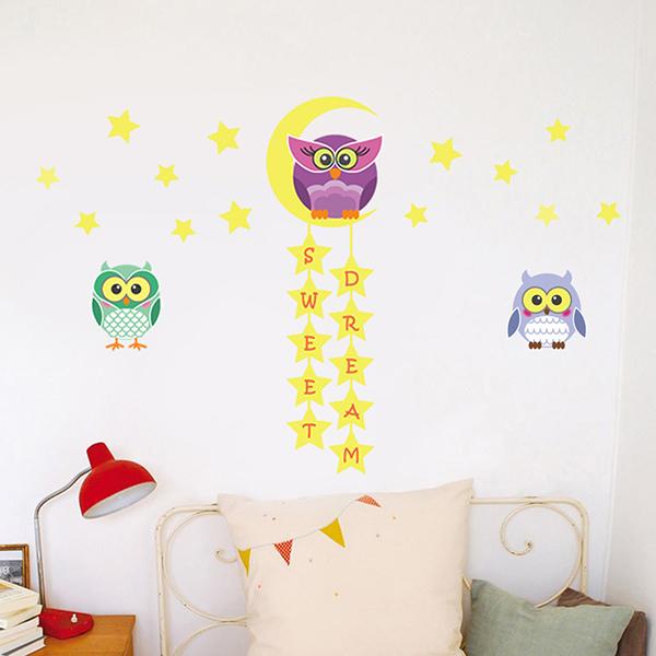 Owl Stars Moon Wall Sticker